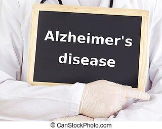 Doctor shows information: alzheimer's disease