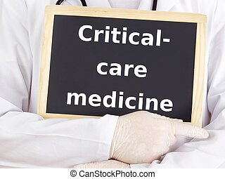 Doctor shows information: critical-care medicine