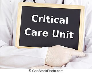 Doctor shows information: critical care unit