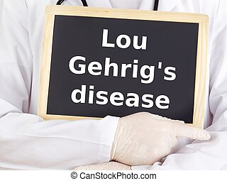 Doctor shows information: lou gehrig's disease