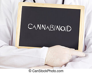 Doctor shows information on blackboard: cannabinoid