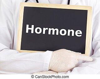 Doctor shows information on blackboard: hormone