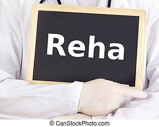 Doctor shows information on blackboard: rehab