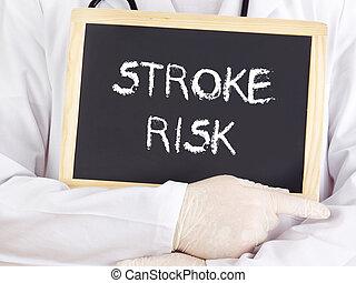 Doctor shows information: stroke risk