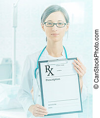 Doctor shows prescription paper