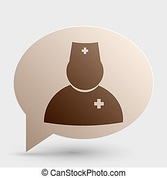 Doctor sign illustration. Brown gradient icon on bubble with shadow.