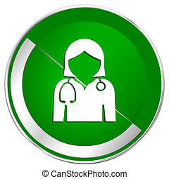 Doctor silver metallic border green web icon for mobile apps and internet.