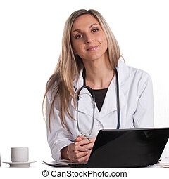 doctor sits at the table