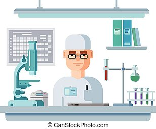 Doctor Sits in Laboratory, Healthcare and Medical Research....