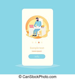 doctor sitting at table workplace using laptop and writing prescription modern clinic office interior medicine and healthcare concept full length flat vertical copy space