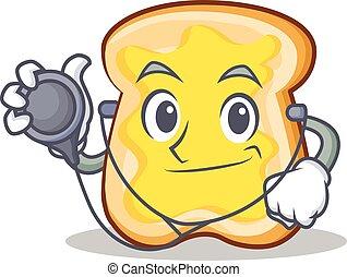 Doctor slice bread cartoon character vector art illustration