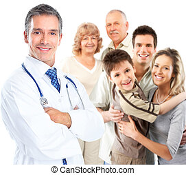 Doctor - Smiling medical doctor. Isolated over white ...