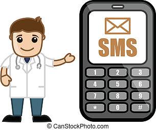 doctor, sms, médico, y, -, alarma