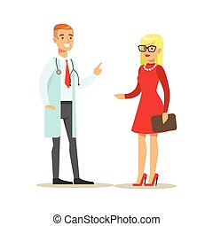 Doctor Speaking To A Patient Discussing Treatment, Hospital And Healthcare Illustration