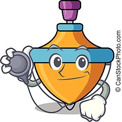 Doctor spinning top character cartoon vector illustration