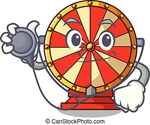 Doctor spinning wheel game the mascot shape vector...