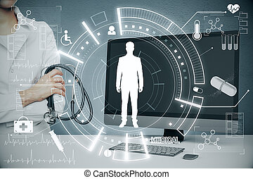 Doctor standing on medical interface