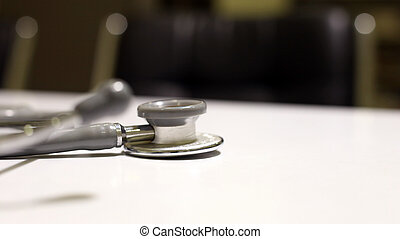 Doctor stethoscope closeup view on white background