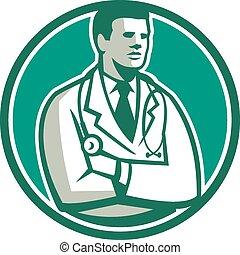 Doctor Stethoscope Standing Circle Retro
