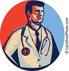 Doctor Stethoscope Standing Retro