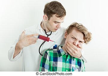 Doctor Stifling Teen Boy While Syringe into Neck