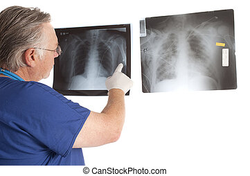 doctor studying x-rays