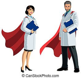 Male and Female medical doctors with superhero capes, on white background.