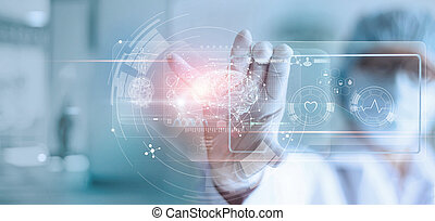 Doctor, surgeon analyzing patient brain testing result and human anatomy on technological digital futuristic virtual interface, digital holographic, innovative in science and medicine concept
