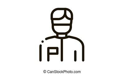 Doctor Surgeon Man Icon Animation. black Doctor Surgeon Man animated icon on white background