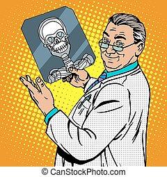 doctor surgeon x-rays skull. Medicine and health pop art...
