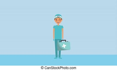 doctor surgeron holding first aid kit medical emergency...