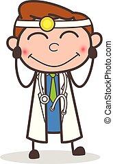 doctor, tímido, ilustración, vector, sonriente, caricatura