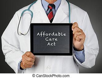 doctor, tableta, computadora, affordable, cuidado, acto