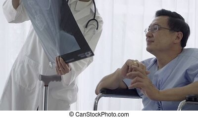 Doctor or physician take care of sick patient at the hospital or medical clinic. The happy patient visit doctor and discuss for illness cure treatment. Medical healthcare and doctor service concept.