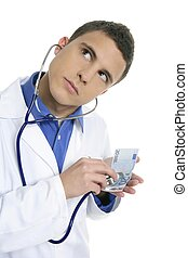 Doctor taking care of 20 euro note health