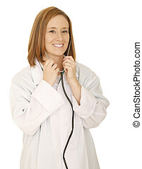 Doctor Taking Off Stethoscope