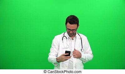 Doctor Taking Selfie on Green Screen