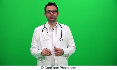 Doctor Talking Explain Result Green Screen Background