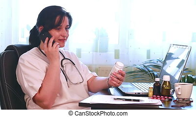 Doctor talking to patient on phone