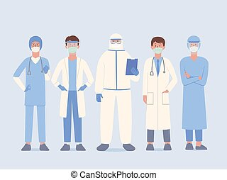 Doctor team in uniform and surgical mask and face shield and PPE suit standby for help Patient and work in stand pose.