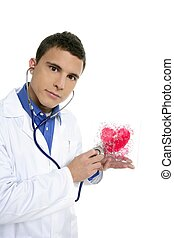 Doctor test a red heart health, young man