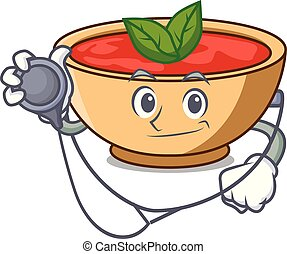 Doctor tomato soup character cartoon