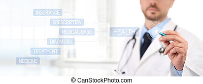 Doctor touch screen with a pen medical health care concept