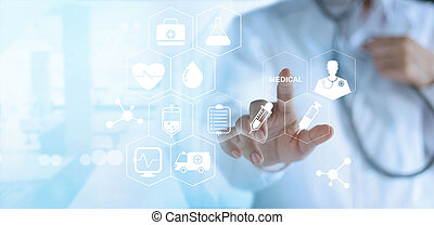 Doctor touching white icon medical on virtual screen, ...