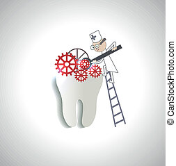 Doctor treats tooth abstract illustration