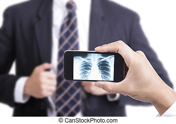 Doctor use smart phone check your health