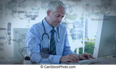 Doctor using a computer and chemical structures