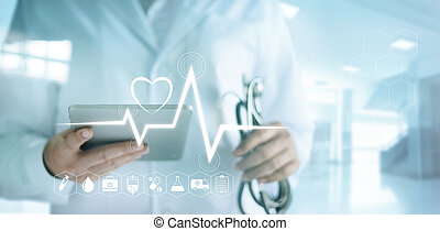 Doctor using digital tablet with medical icon and heartbeat rate in the hospital background