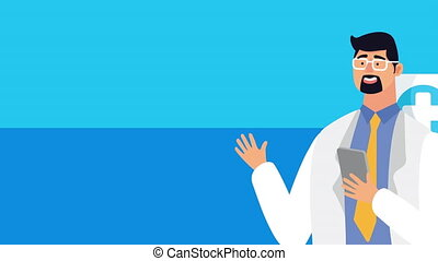 doctor using smartphone healthcare online and ambulance ,4k video animated