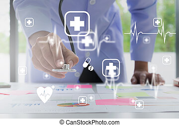 Doctor using stethoscope with icon medical and modern virtual screen interface, medical technology network concept.